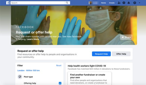 Facebook launched a feature that allows people to request or offer help to neighbors — here's how it worksFacebook推出了一项功能,允许人们向邻居请求或提供帮助——它的工作原理是这样的
